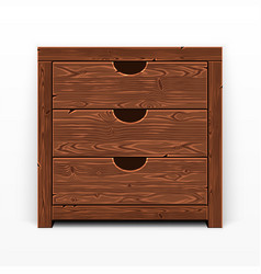 Wooden old chest of drawers vector