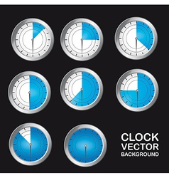 Blue timer clock over black background vector