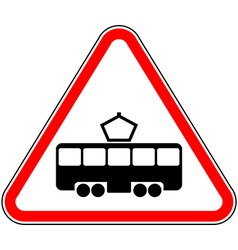 Road sign intersection with the tram line vector
