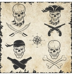 Emblems of skulls on the pirate theme vector