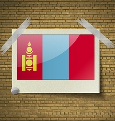 Flags mongoliaat frame on a brick background vector