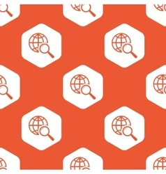 Orange hexagon global search pattern vector