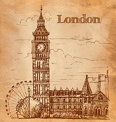 Bigben in london landscape on a vintage postcard vector