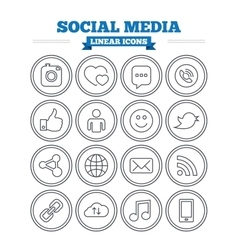 Social media linear icons set thin outline signs vector