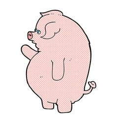 Comic cartoon fat pig vector