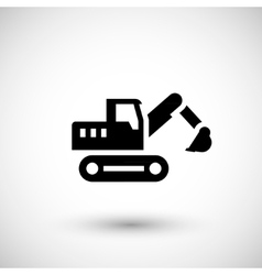 Crawler excavator icon vector