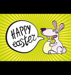 Yellow background with white easter rabbit vector