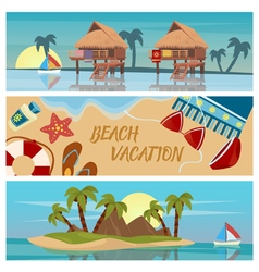 Beach vacation horizontal banners set vector