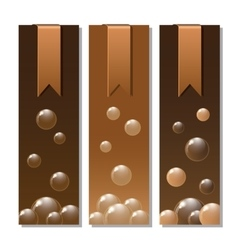Banners with stickers and chocolate texture vector