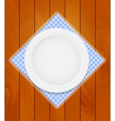 White Eppty Plate on Kitchen Napkin at Wooden vector image