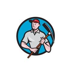 Construction worker pickaxe circle cartoon vector