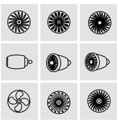 Line turbines icon set vector