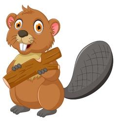cute beaver cartoon eating wood vector image