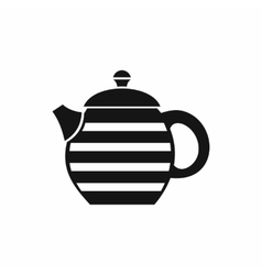 Striped teapot icon simple style vector