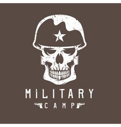 Military camp grunge emblem with skull and guns vector