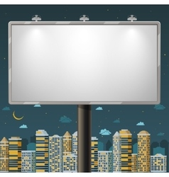 Blank billboard at night time vector image vector image