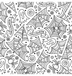 Cartoon cute hand drawn halloween seamless pattern vector