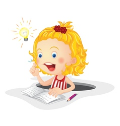 Child studying vector image