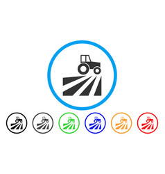 Farm field with tractor rounded icon vector