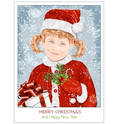 Girl in Santa Claus clothes vector image