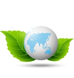 Globe and green leaf vector image vector image