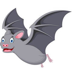 happy bat cartoon flying vector image vector image