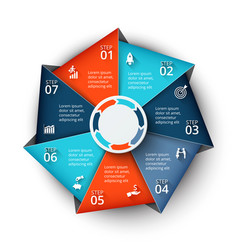 Heptagon element for infographic vector