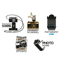 icons camera film for photo studio school vector image