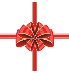 Red bow on white vector image