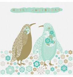 Retro Christmas Birds Card vector image