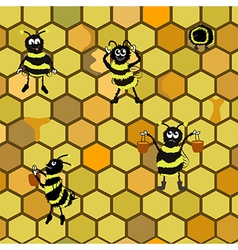 Seamless pattern background with bees vector image