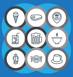 Set of 9 eating icons includes coffee cup vector