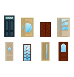 Set of doors with glass or windows design vector
