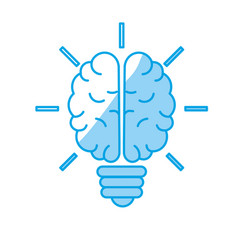 Silhouette brain bulb to crative ideas solutions vector