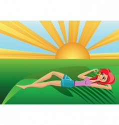 sun and girl vector image