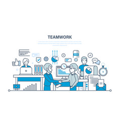teamwork performance evaluation analysis vector image