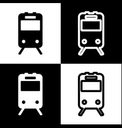Train sign black and white icons and line vector
