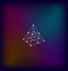 Wire frame shape pyramid with connected lines and vector