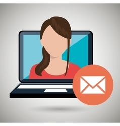 Woman laptop message web vector