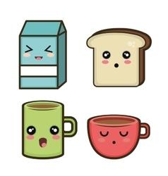 set cartoon breakfast design vector image
