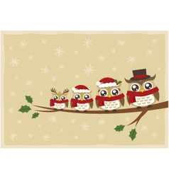 owl family christmas greeting vector image