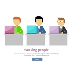 Working people web banner man works with laptop vector