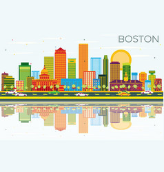Boston skyline with color buildings blue sky and vector