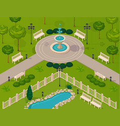 Fragment of city park landscape vector