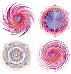 Set of four color spiral vector