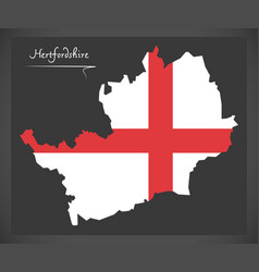 Hertfordshire map england uk with english vector