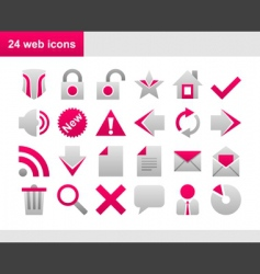 24 popular pink web icons vector