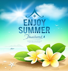 Plumeria flowers enjoy summer greeting card vector image