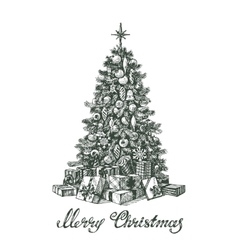 Hand drawn christmas tree and gifts vector