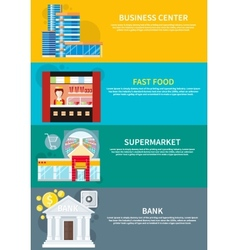Business center supermarket bank fast food vector